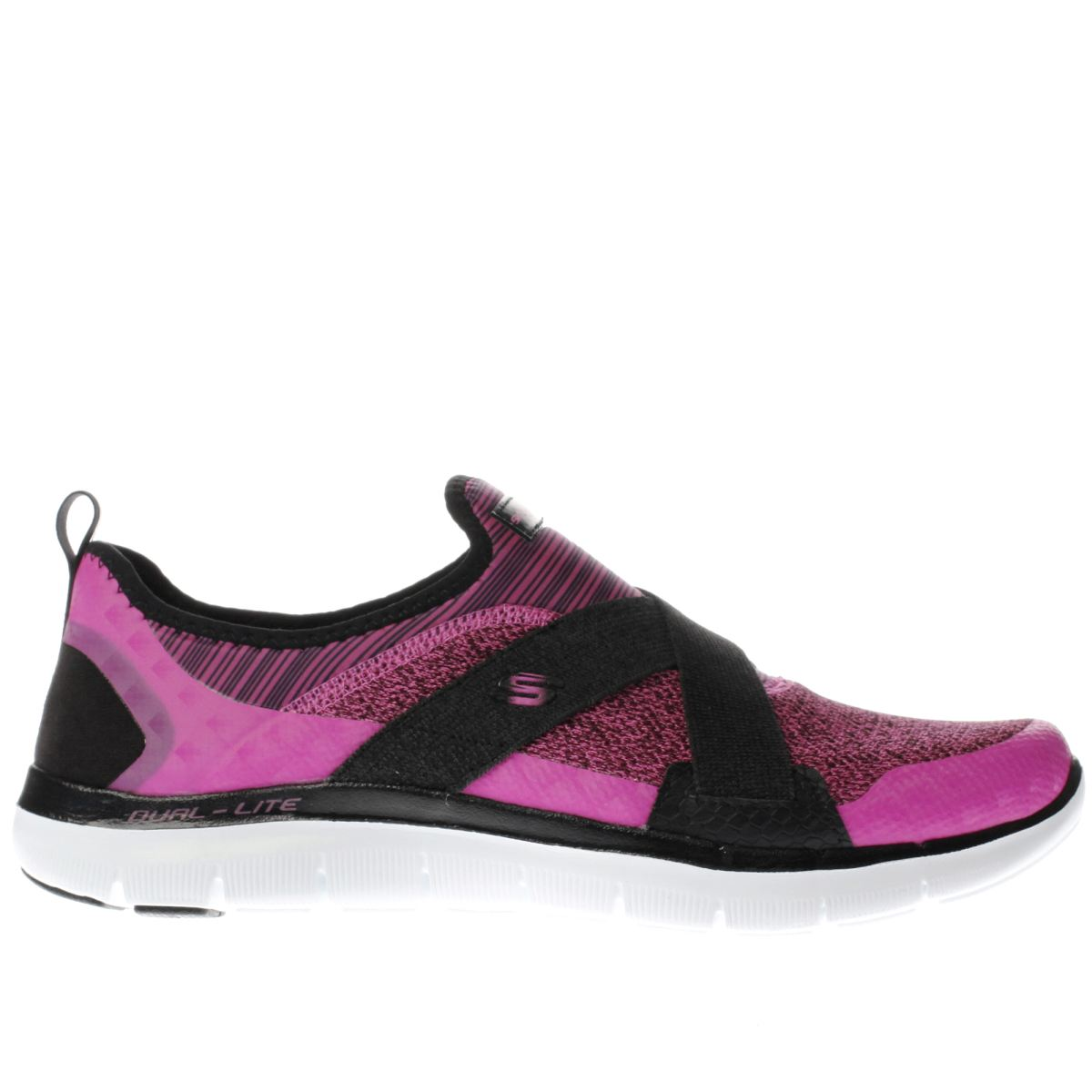 skechers pink & black flex appeal 2.0 new image trainers