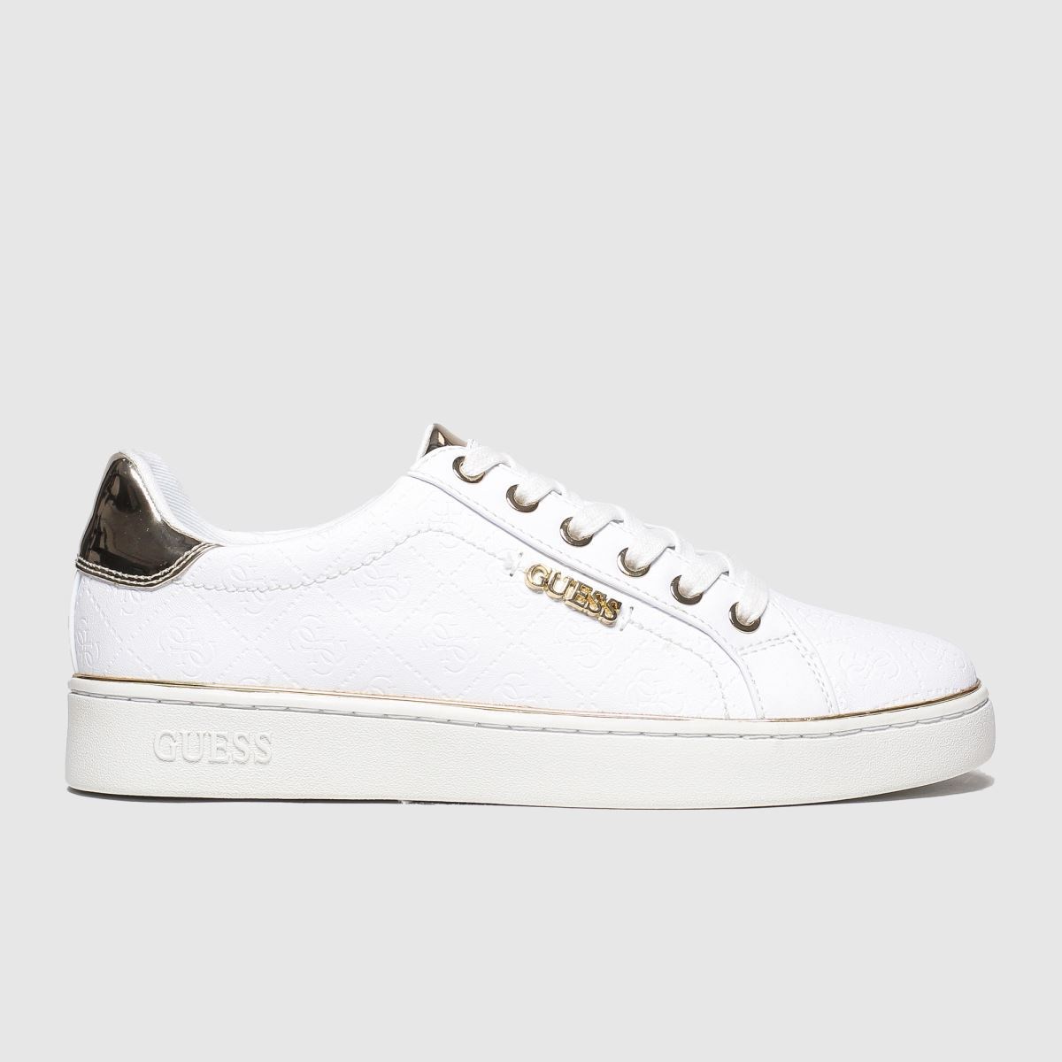 Guess Guess White & Gold Beckie Trainers