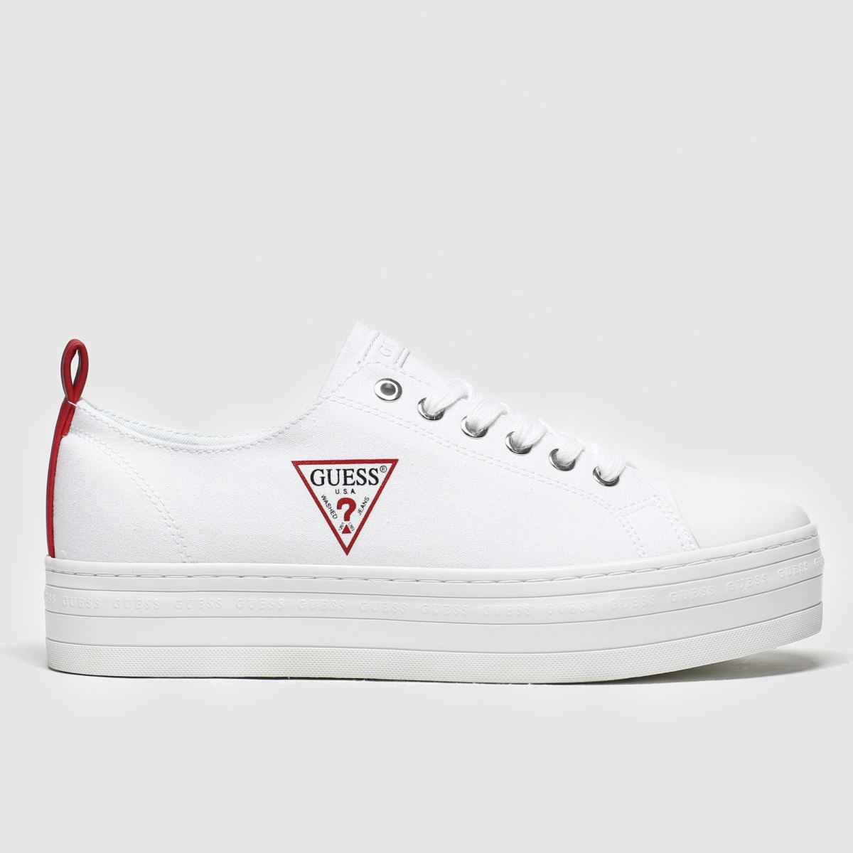 Guess Guess White & Red Brigs Platform Trainers