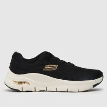 Skechers Black & Gold Flex Appeal 2.0 Opening Night Womens Trainers