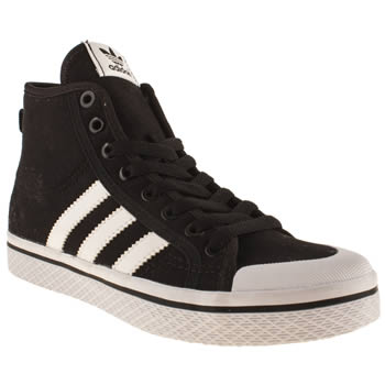 Womens Adidas Black & White Honey Mid Stripes Trainers