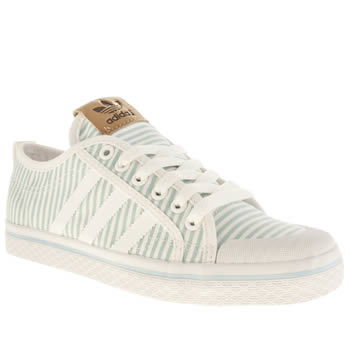 Womens Adidas White & Pl Blue Honey Low Trainers