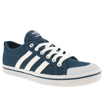 womens adidas navy & white honey low stripes trainers