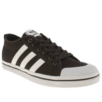 Womens Adidas Black & White Honey Low Stripes Trainers