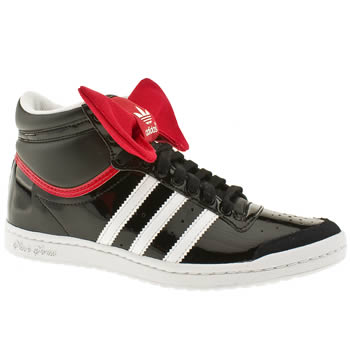 womens adidas black & red top ten hi sleek night trainers