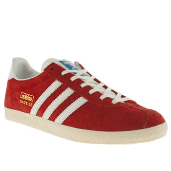 Womens Adidas Red Gazelle Og Ii Trainers