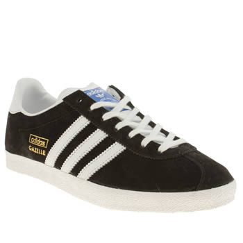 Womens Adidas Black & White Gazelle Og Ii Trainers