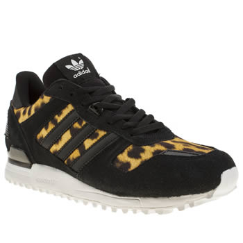 womens adidas black & brown zx 700 leopard print trainers