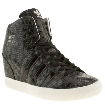 womens adidas black & grey basket profi heel trainers