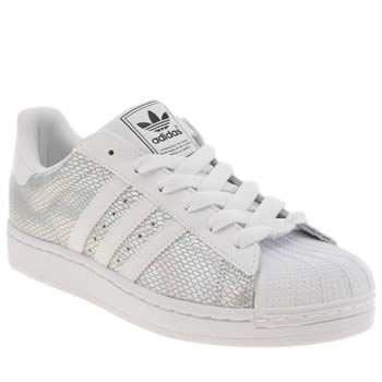 Womens Adidas White & Silver Superstar 2 Foil Trainers