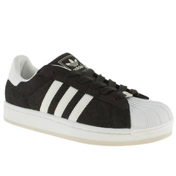 womens adidas black & white superstar 2 lace trainers