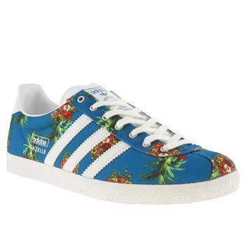 womens adidas white & blue gazelle og iii farm brazil trainers
