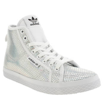 Adidas White & Silver Honey Mid Foil Trainers