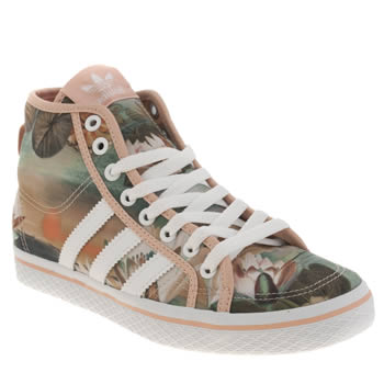 Womens Adidas White & Pink Honey Mid Farm Print Trainers