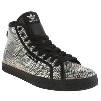 Adidas Silver & Black Honey Mid Foil Trainers