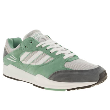 Adidas White & Green Tech Super Trainers