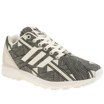 Womens Adidas White & Black Zx Flux Farm Print Trainers
