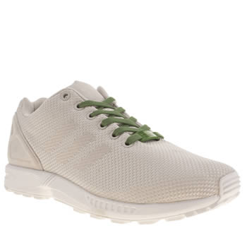 womens adidas white & green zx flux 8k weave trainers