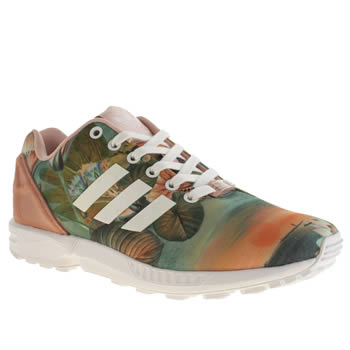 Womens Adidas Pale Pink Zx Flux Farm Print Trainers
