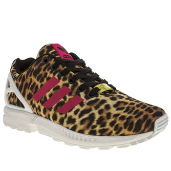 womens adidas beige & brown zx flux leopard trainers