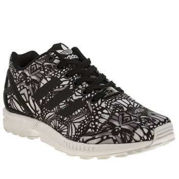 Womens Adidas Black & White Zx Flux Butterfly Trainers