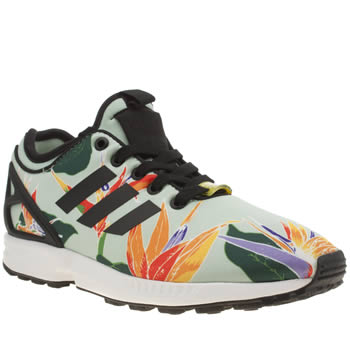 Adidas Light Green Zx Flux Neoprene Graphic Trainers