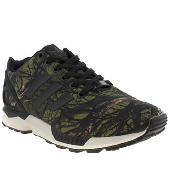 Womens Adidas Black & Green Zx Flux Tree Print Trainers