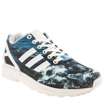 womens adidas navy & pl blue zx flux 8k graphic trainers