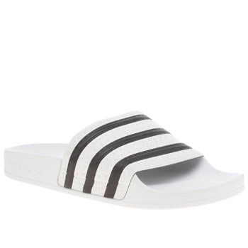 Womens Adidas White & Black Adilette Trainers