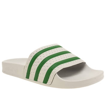 Adidas White & Green Adilette Womens Sandals