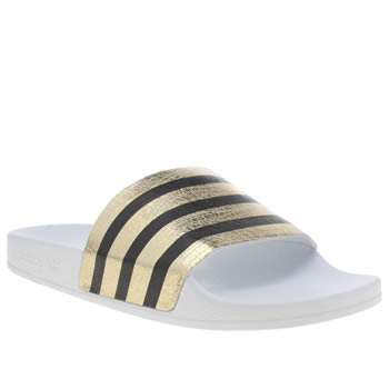 Womens Adidas White & Gold Adilette Sandals