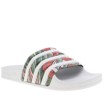 Adidas White & Orange Adilette Rita Ora Dragon Sandals