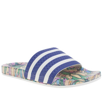 Adidas White & Blue Adilette Farm Print Sandals