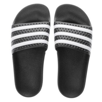 Womens Adidas Black & White Adilette Trainers