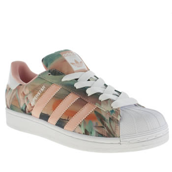Womens Adidas White & Pink Superstar Farm Print Trainers
