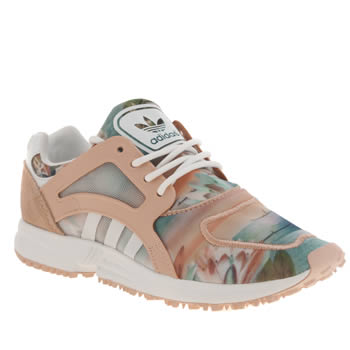 Adidas White & Pink Racer Lite Farm Print Trainers