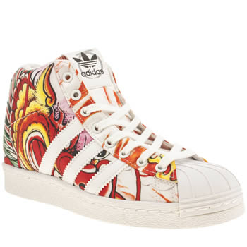 Adidas White & Orange Superstar Up Rita Ora Trainers