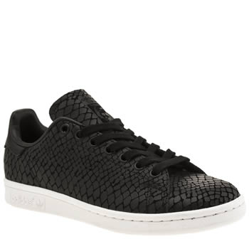 Adidas Black & White Stan Smith Snake Trainers