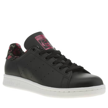 Adidas Black & pink Stan Smith Floral Trainers