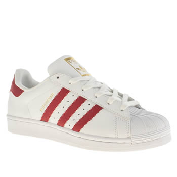 Adidas White & Red Superstar Foundation Trainers