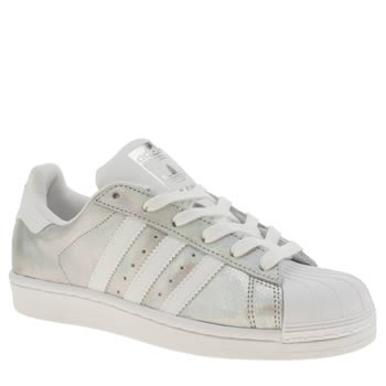 Adidas White & Silver Superstar Metallic Trainers