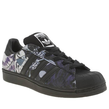 Adidas Black & Purple Superstar Floral Trainers