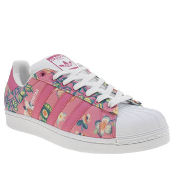 Adidas White & Pink Superstar Farm Print Trainers