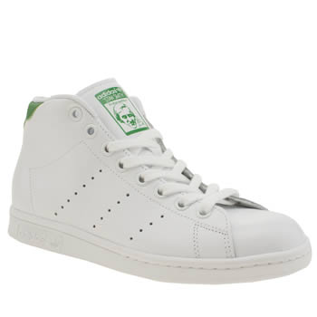 Adidas White & Green Stan Smith Mid Trainers