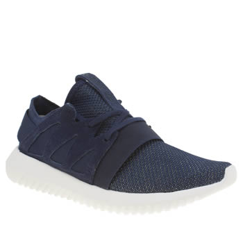 Womens Adidas Navy & White Tubular Viral Material Trainers