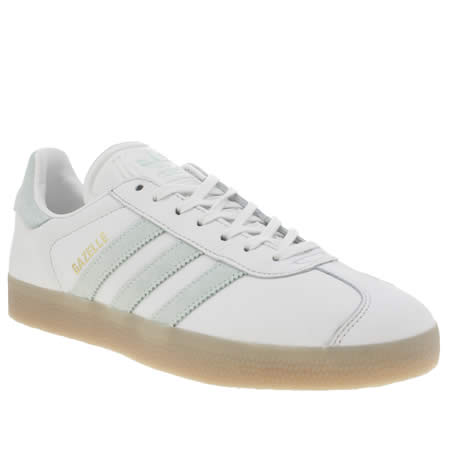 Adidas White & Mint Green  gazelle Leather Trainers