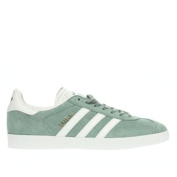 Womens Adidas Green Gazelle Perf Suede Trainers