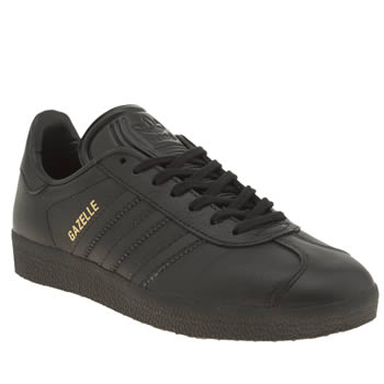 Adidas Black Gazelle Leather Womens Trainers