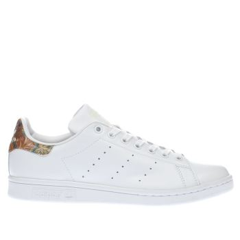 Adidas White & Orange Stan Smith Floral Womens Trainers