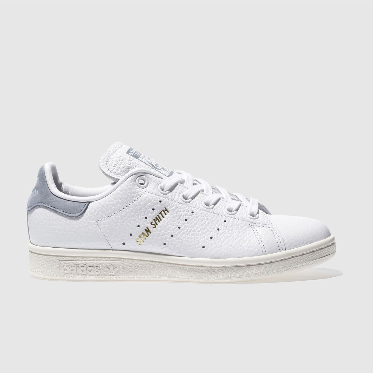 adidas white & blue stan smith trainers